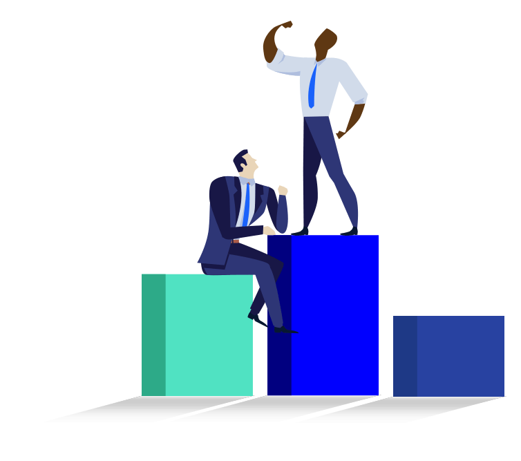 Vector illustration of two males posing on a bar graph