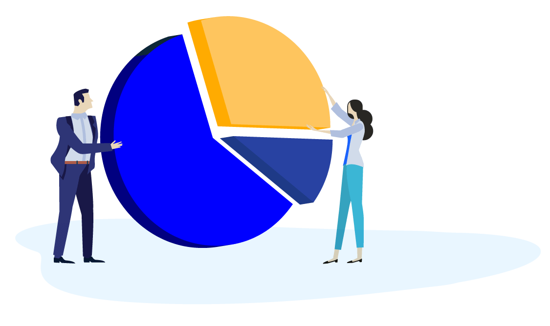 Vector illustration of a male and female piecing together a pie chart