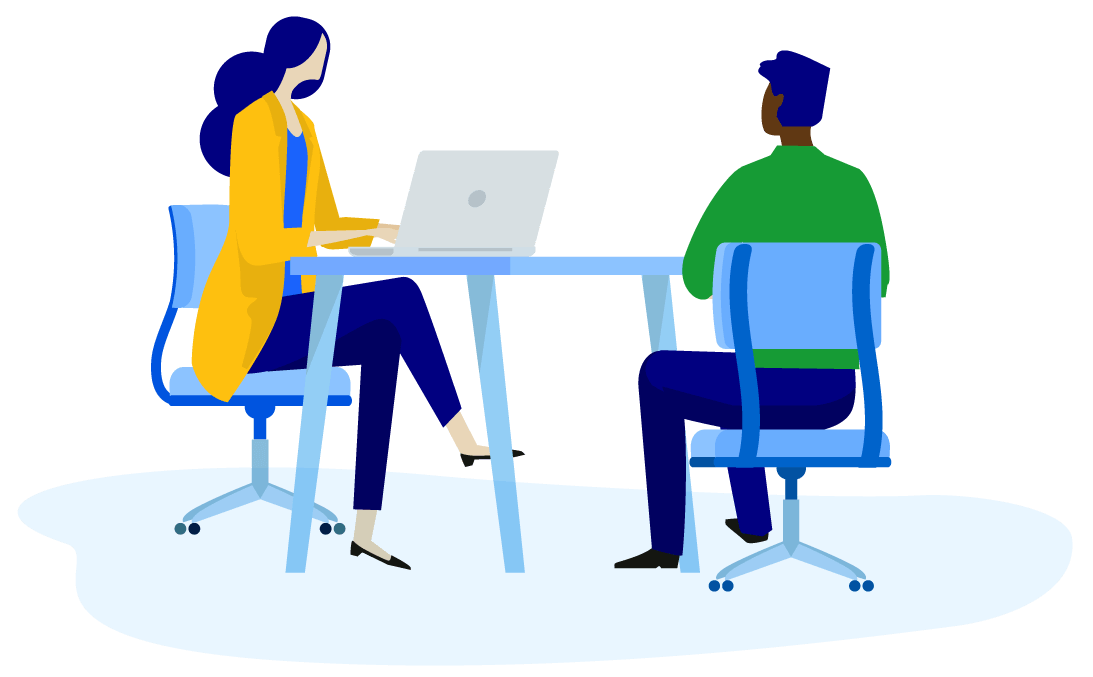 Vector illustration of a woman at a desk coaching a male seated across from her