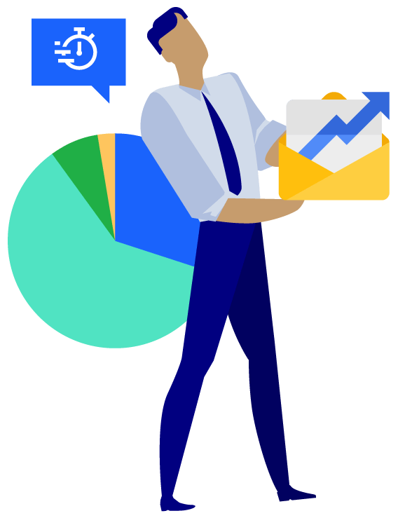 Vector Illustration of a male figure in business attire holding an envelope with a graph sheet inside. There is a pie chart behind the figure with a stop watch icon above it.