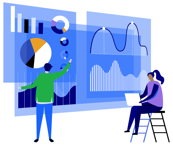 Vector illustration of a figure facing a large statistics chart while another figure sits on a stepladder nearby with a laptop.