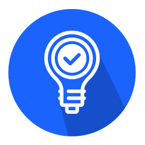 Outline of a lightbulb with a checkmark inside on a blue circular background