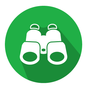 Vector illustration of a pair of binoculars on a green circular background