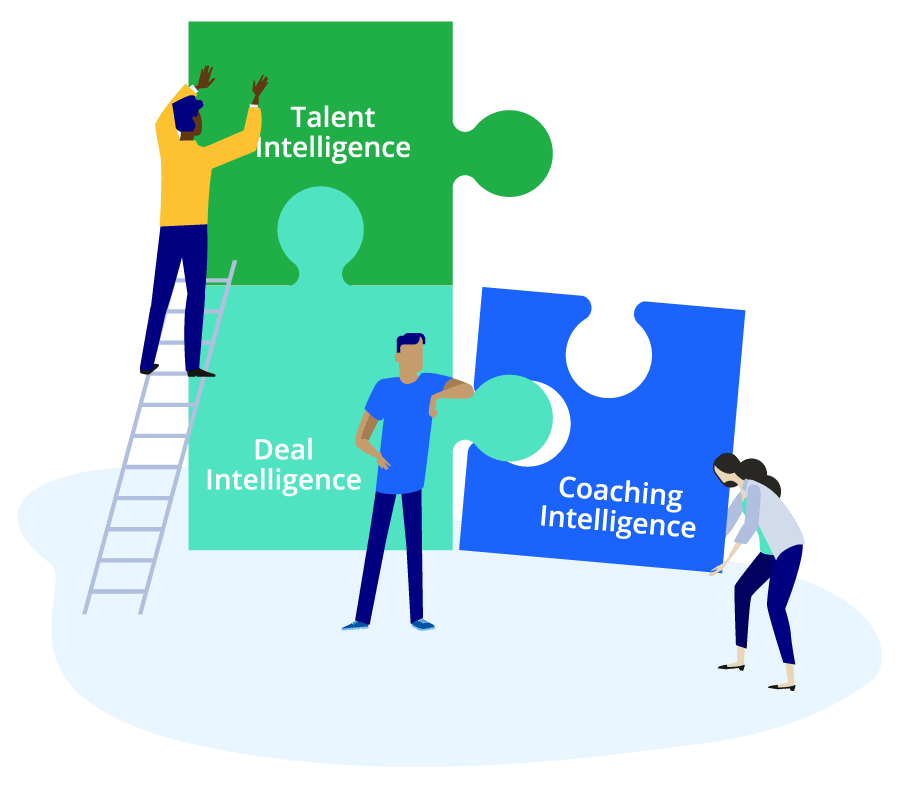 Vector illustration of three figures piecing together three puzzle pieces representing TalentIQ, DealIQ, and CoachingIQ