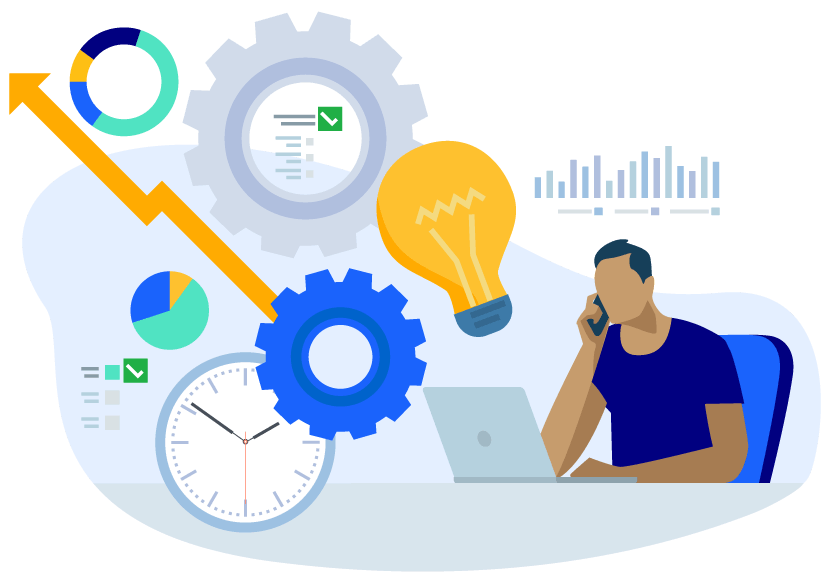 Vector illustration of a man on the phone and at a laptop with sales growth icons next to him