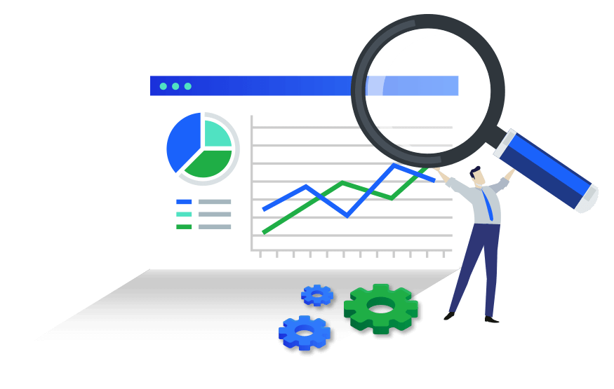 Vector illustration of a man in business attire holding an oversized magnifying glass in front of a stats chart with gears lying next to the figure