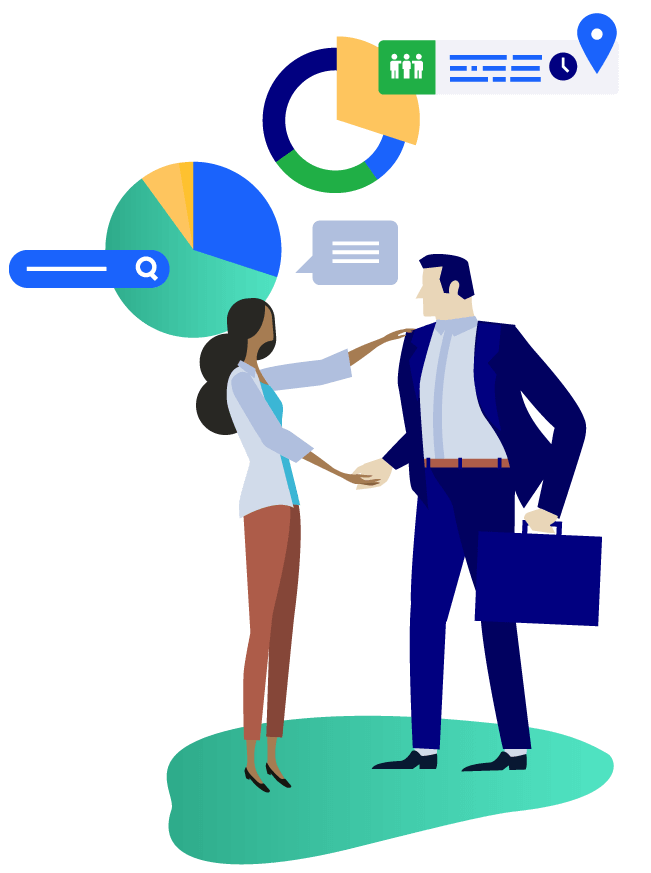 Vector illustration of a male figure in a suit shaking hands with a female figure. There is a pie chart, a stylized search bar, and a text bubble behind them.