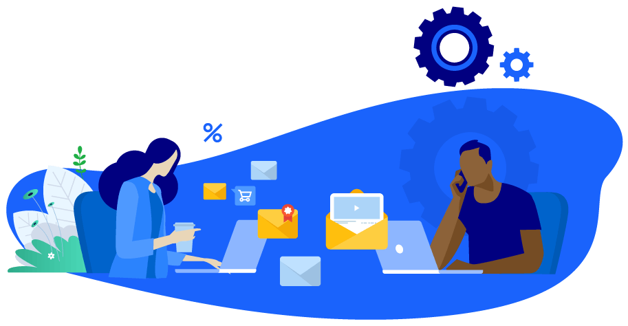 Vector illustration of two sales people with laptops working to make a sale