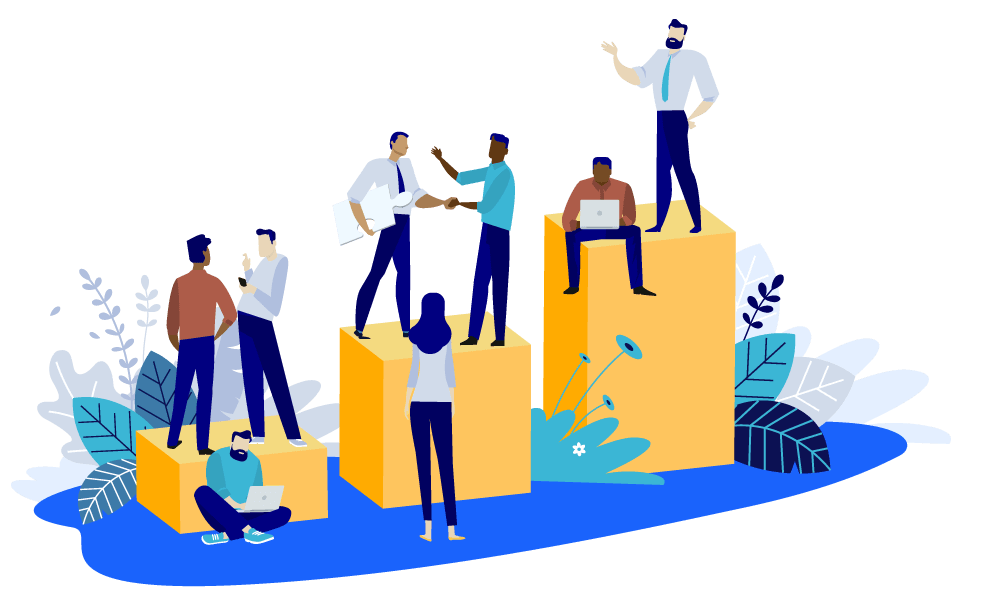 Vector illustration of sales people standing and sitting on three growth platforms