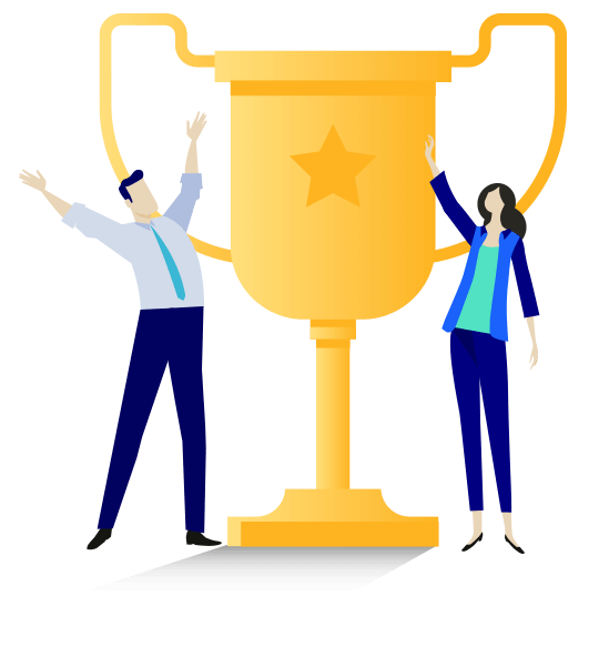 Vector illustration of an oversized trophy with a male figure to the left and a female figure to the right, both dressed in business attire